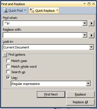 ssms_search_replace_blank_lines